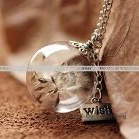 Nature Inspired Jewelry Real Dandelion Necklace Pendant Gift (WHM0097)