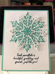 Best 12 Stampin' Up!Com Best 12 Stampin' Up! Diy Christmas Snowflakes, Snowflake Cards, Noel Christmas, Handmade Christmas, Xmas Cards Handmade, Christmas Cards 2018, Homemade Christmas Cards, Homemade Cards, Holiday Cards