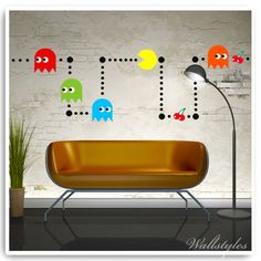Pacman Wall Stickers Vinyl Retro Game Room Decor Decals Stencil Mural Bedroom