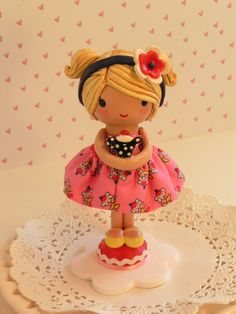 Cake Topper For A Little Girl Handmade by SweetiePieCaketopper