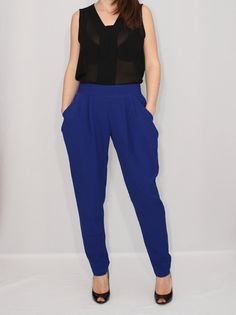 Harem Pants Cobalt Blue Pants for Women Double by KSclothing, $35.00