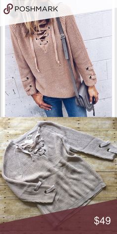 String detail top Model wears dusty pink but I am selling a light taupe. Brand new, with tags. Relaxed fit. Sizes are in between ;) S/M Tops Tees - Long Sleeve
