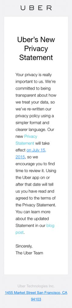 Uber-New-Privacy-Statement Email Redesign \ Development Pinterest - privacy statement