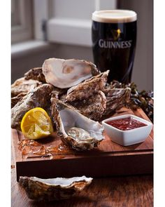 The British Isles  Classic combination: fresh oysters and a pint of Guinness…