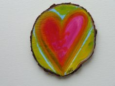 3inch Handpainted Heart on a Tree Slice with 2 super strong earth magnets on back. signed/dated on back. Thanks for visiting my shop :)