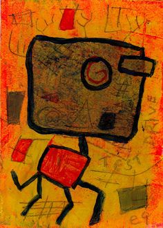 test drive e9Art ACEO Abstract Outsider Art Brut Painting One-of-a-Kind Mixed Media