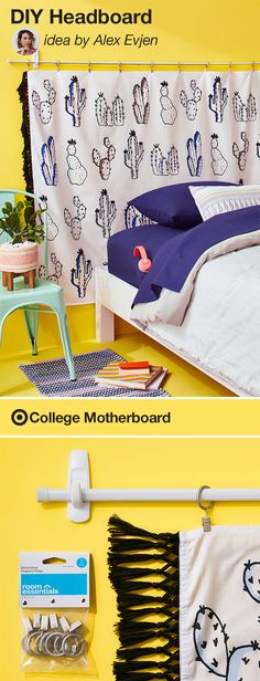 """Mom pinner, Alex Evjen shares how to personalize your student's perfect crash pad: """"Make any dorm room feel like home with this creative & easy DIY headboard. It's an inexpensive design idea that only takes minutes to create and makes a huge impact. Easily swap out the tapestry with a different color scheme or print at any time."""" This pin was made by Moms, for Moms to make sending any student off to college easy, thanks to the On to College Motherboard."""
