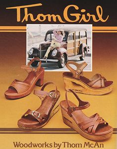 March 1979. 'Fashionable feet al have one thing in common: Woodworks by Thom McAn. Super looks in real leather uppers and rich, grainy wood.'