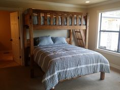 Queen or King Texas Bunk Bed - Twin over Queen - Rustic Perpendicular Designer Full Loft with Queen