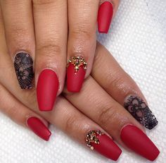 Bright red matte nails with awesome designs!