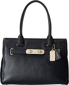 Women's Top-Handle Handbags - COACH Womens Polished Pebble Leather New Swagger LINavy Satchel *** Want to know more, click on the image.