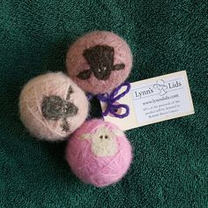 Pink Sheepy Wool Dryer Balls - 50% for Rethink Breast Cancer, make a perfect baby shower gift