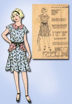 1930s Original Lovely Unused Girls Peplum Dress Pattern Sz 32 B | eBay