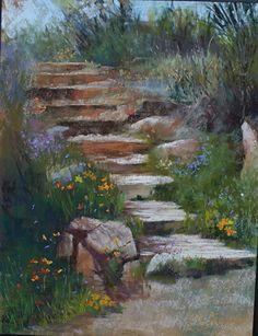 "Up the Stairs - Hiking Wassoon Peak AZ by Randye Jensen Pastel ~ 12"" x 9"""