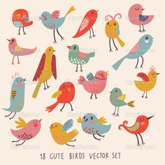 Find Cute birds in vector. Cartoon set stock vectors and royalty free photos in HD. Explore millions of stock photos, images, illustrations, and vectors in the Shutterstock creative collection. Robin Bird Tattoos, Tiny Bird Tattoos, House Illustration, Illustrations, Retro Illustration, Cartoon Kunst, Cartoon Art, Bird Doodle, Babies Rooms