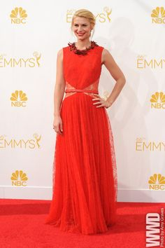 Claire Danes was a standout in lacy red #Givenchy Haute Couture. #EmmyAwards