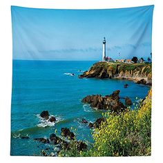 Lighthouse Decor Tablecloth Pigeon Point Lighthouse in California Romantic Shoreline Waves Wildflowers Horizon Dining Room Kitchen Rectangular Table Cover