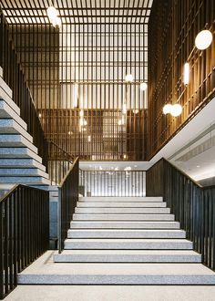 Staircase at The Sukhothai, Shanghai | Located on the edge of the recently opened mixed-use HKRI Taikoo Hui complex, the brand's second opening is unapologetically modern and minimalist – all clean lines, terrazzo, pale wood and brass accents #design #interiors #hotel #travel #destinations