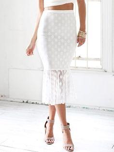 White Polka Dot Lace Midi Skirt//