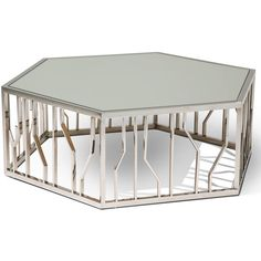 Reflections Cocktail Table by Michael Amini ($819) ❤ liked on Polyvore featuring home, furniture, tables, accent tables, chrome table, michael amini, chrome furniture, chrome end table and chrome side table