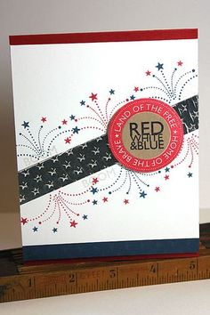 Red White & Blue Card by Heather Nichols for Papertrey Ink (May 2013)