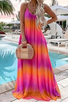 Summer Sleeveless Gradient maxi dress maxi dress formal maxi dress summer maxi dress casual maxi dress for wedding guest boho maxi dress Vestido Tie Dye, Vestido Maxi Floral, Vestido Hippie Chic, Vestidos Color Azul, Floryday Vestidos, Pink Lila, Trend Fashion, Steampunk Fashion, Fashion 2020