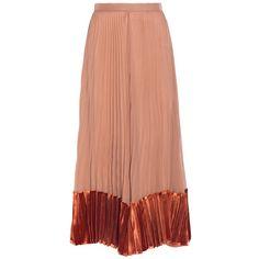 Valentino Pleated Velvet Midi Skirt (201.970 RUB) ❤ liked on Polyvore featuring skirts, brown, velvet skirt, pleated skirt, brown pleated skirt, mid calf skirts and rose skirt