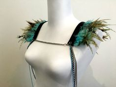 Baby blue feather shoulder jewelry with leather by LoveKhaos
