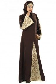 Polyester Embroidery Party Wear Abayas in Brown and Gold Colour