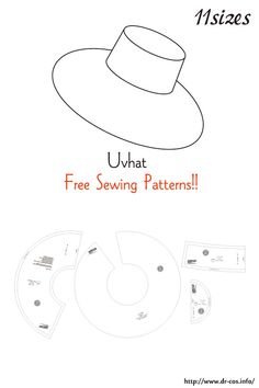 This is the pattern of a Uvhat. Sewing Basics, Sewing Hacks, Sewing Crafts, Sewing Projects, Hat Patterns To Sew, Sewing Patterns Free, Free Sewing, Sewing Clothes, Diy Clothes