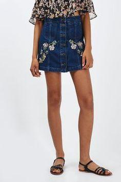 PETITE MOTO Floral Denim Skirt