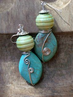 SageTurquoise Teal Green Blue Stone & Natural Wood by stoneandbone, $27.00