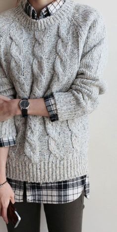 Chunky Knit Sweater Outfit, Chunky Knit Sweater Button Up Shirt Winter Pullover Outfits, Knit Sweater Outfit, Plaid Shirt Outfits, Plaid Shirts, Winter Outfits, Winter Layering Outfits, Layering Clothes, Cute Sweater Outfits, Fall Layering