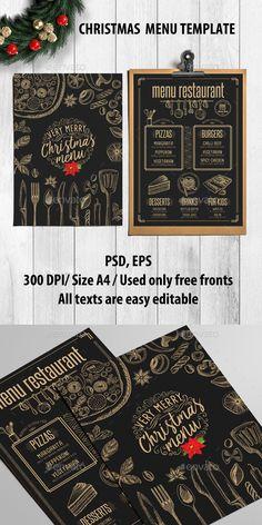 Christmas Menu Restaurant — Photoshop PSD #icon #doodle • Download ➝ https://graphicriver.net/item/christmas-menu-restaurant/18916355?ref=pxcr