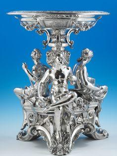 A Pash and Sons - Fine Antique Silver, Objet d'art, fine bronzes, & furniture Silver Centerpiece, Centerpieces, Bronze, Vintage Silver, Antique Silver, Sterling Silverware, Silver Table, Fruit Art, Objet D'art