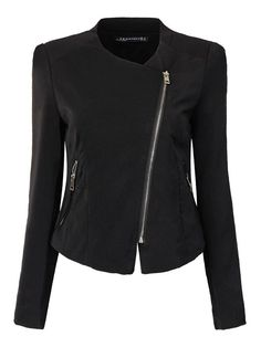 Women Long Sleeve Brief Pure Color Zipper Pocket Short Slim Jacket