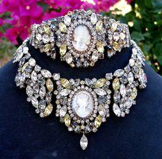 "Spectacular! Vintage ""Hobe`"" Cameo Necklace & Bracelet"