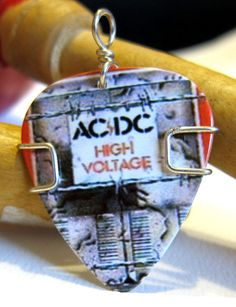 Guitar Pick Necklace  ACDC Guitar Pick Jewelry  by TwistedPicks, $10.00