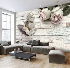 Photo Wallpaper Wall Murals Non Woven 3D Angels Rose Roses