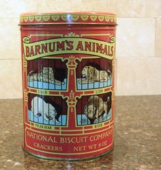 Vintage Nabisco Animal Crackers Tin Round by CottageImaginations