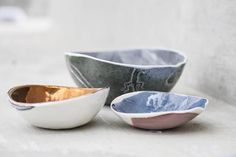 Beautiful hand crafted porcelain bowls by John Bauer, in the Cavalli Boutique. Designers we love!