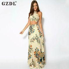 Gzdlファッション夏女性ビーチクラブウェアパーティー2ピースセットセクシーなノースリーブ背中の開いた作物トップタンクベストロングマキシスカートCL2762