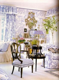 Picture of Elegance Blog: Mario Buatta's Romantic Interiors.. For the love of blue and white