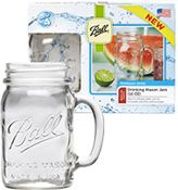 Ball® Mason Jar Mugs. Add a chalkboard sticker, make a sign asking guests to write their name and then take the jar home as a party favor.