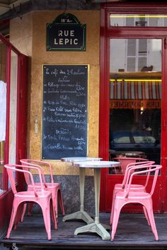 Paris Cafe des Deux Moulins - Rue Lepic -  Amelie Cafe Photo - Paris Photography - Paris Wall Art - Bright Pink on Etsy, $30.00