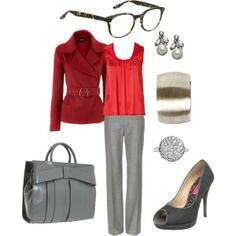 """Red and grey"" by jossiebristow on Polyvore"