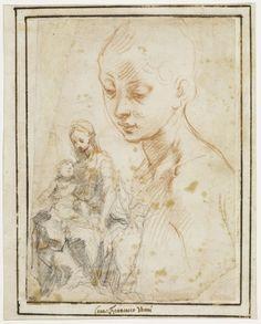 Inventaire du département des Arts graphiques - Etude pour une Vierge à l'Enfant ; Buste de la Vierge - VANNI Francesco