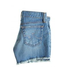 ADRIANO GOLDSCHMIED AG 22 Year Mary Jane Cut Off Short ($195) ❤ liked on Polyvore featuring shorts, bottoms, pants, denim, summer shorts, cutoff shorts, blue shorts, cut off shorts and distressed shorts