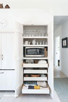 Kitchen Pantry Cabinet with Pull Out Shelves . Kitchen Pantry Cabinet with Pull Out Shelves . An Italian Style Ikea Kitchen for A Hostess with the Most Kitchen Pantry Cabinets, Kitchen Redo, Microwave Cabinet, Microwave Storage, Larder Cupboard, Microwave In Pantry, Ikea Kitchen Drawers, Kitchen Floor, Ikea Kitchen Drawer Organization