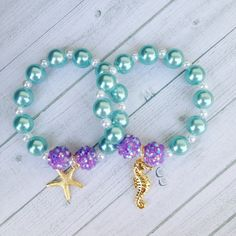 8 - Ariel Little Mermaid Under the Sea Charm Bracelet Birthday or Slumber Party Favor Ariel Birthday Party Ariel Under the Sea Party Favor